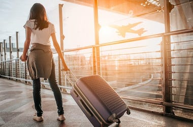 Airport, Woman, Walking, Terminal, Airplane, Suitcase