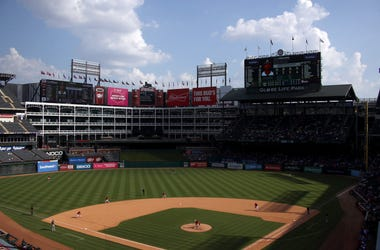 A general view of play between the Oakland Athletics and the Texas Rangers at Globe Life Park in Arlington on September 15, 2019 in Arlington, Texas.