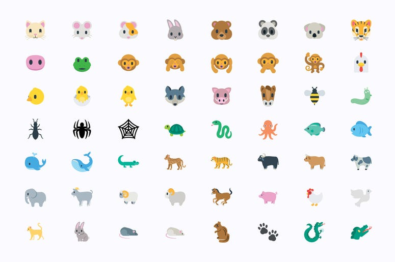 Animals Vector Illustration Emojis, Icons Set. All Flat Wildlife Symbols Collection – Vector