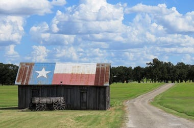 Texas, Rural Road, Country, Flag, Barn