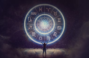 Woman raising hands looking at the night sky. Astrological wheel projection, choose a zodiac sign. Trust horoscope future predictions, consulting stars. Power of universe, astrology esoteric concept