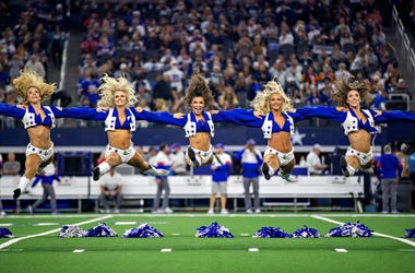 Dallas Cowboys Cheerleaders perform on Thanksgiving Day before a game against the Buffalo Bills at NRG Stadium on November 28, 2019 in Arlington, Texas.