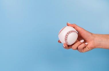 Woman, Female, Hand, Baseball, Holding Baseball
