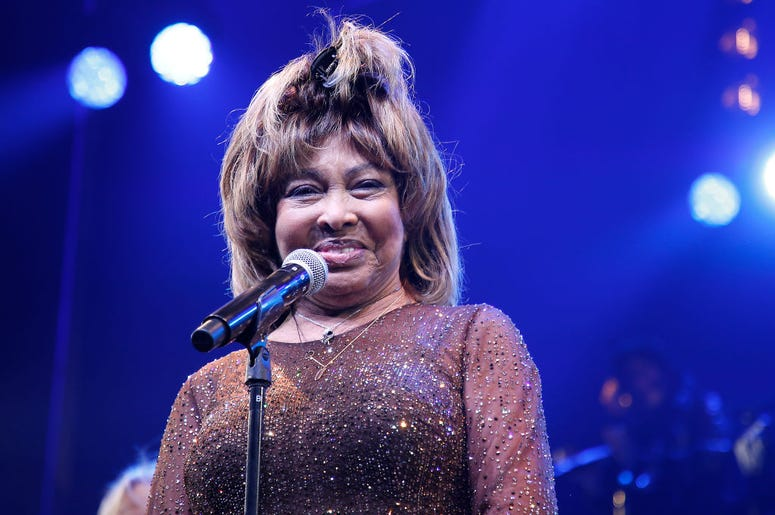 """Tina Turner speaks during the """"Tina - The Tina Turner Musical"""" opening night at Lunt-Fontanne Theatre on November 07, 2019 in New York City."""