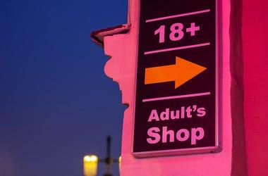 Adult's Shop, Sign, 18+