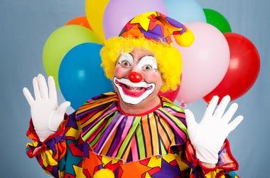 Clown, Surprise, Happy, Balloons