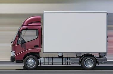 Truck, Delivery Truck, Speeding, Highway, Blurry, Maroon Cabin, Motion