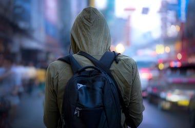 Man, Hoodie, Backpack, Street, City