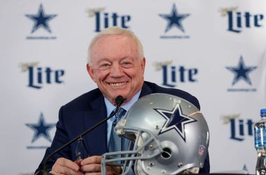 Team owner Jerry Jones of the Dallas Cowboys talks with the media during a press conference at the Ford Center at The Star on January 08, 2020 in Frisco, Texas.