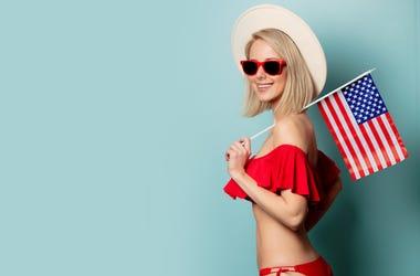 Bikini, American Flag, Woman, Smile