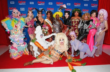 (L-R) Rock M. Sakura, Gigi Goode, Nicky Doll, Crystal Methyd, Jaida Essence Hall, Sherry Pie, Widow Von'Du, Aiden Zhane, Dahlia Sin, Brita Filter, Heidi N. Closet, Jackie Cox and Jan attend 'RuPaul's Drag Race Season 12' meet the queens