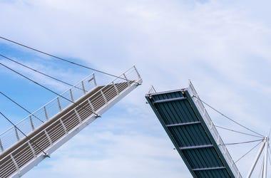Bridge, Drawbridge, Blue Sky, Clouds, Open