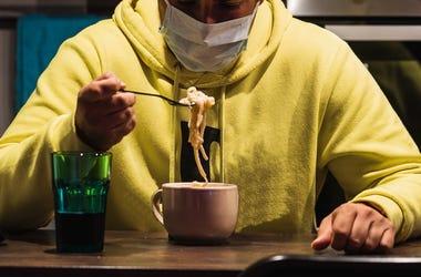 Man, Eating, Facemask, Mask