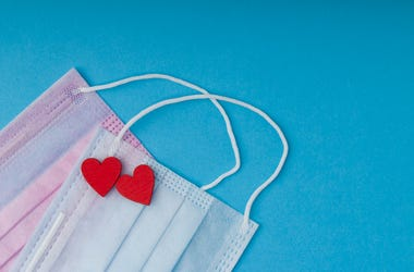Mask, Hearts, Love, Coronavirus, Blue Background
