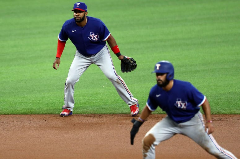 Elvis Andrus #1 of the Texas Rangers in a intrasquad game during Major League Baseball summer workouts at Globe Life Field on July 07, 2020 in Arlington, Texas