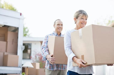 Parents, Couple, Moving, Boxes, Moving Truck, Walking