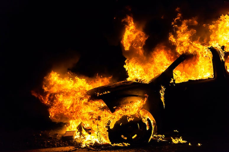 Fire, Car On Fire, Burning Car, Flames