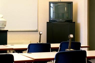 TV, Classroom, Desks, Chairs