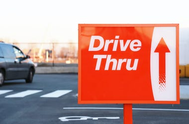 Drive Thru, Red and White Sign, Parking Lot