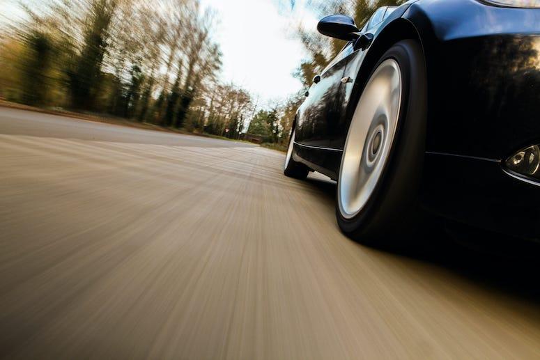 Side View, Car, Speeding, Road, Tires
