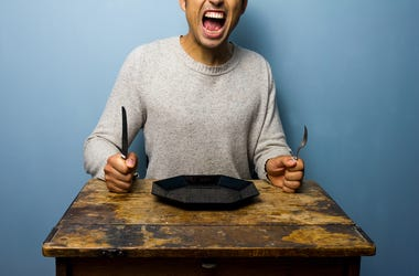 Young Man , Hungry, Screaming, Empty Plate, Hangry