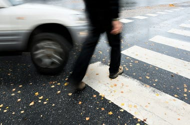 Car, Driving, Crosswalk, Pedestrian, Crash, Hit