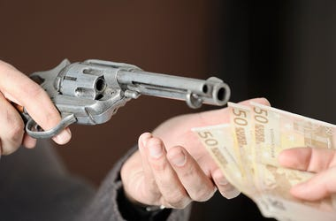 Armed Robbery, Gun, Money, Cash, Robbery