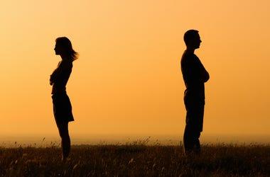 Couple, Divorce, Field, Facing Away, Sunset