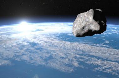Asteroid, Earth, Meteor, 3D Render