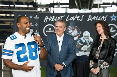 (L-R) Darren Woodson, Ricardo Guadalupe and Charlotte Jones Anderson unveil the Hublot Big Bang Dallas Cowboys timepieces at AT&T Stadium on November 1, 2015 in Arlington, Texas.