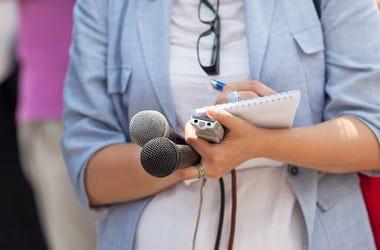 News Reporter, Journalist, Microphones, Notebooks