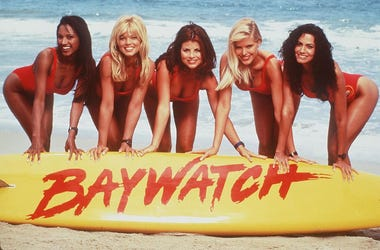 "1996 The Girls Of ""Baywatch."" From L-R: Traci Bingham, Donna D'Errico, Yasmine Bleeth, Gena Lee Nolin And Nancy Valen"