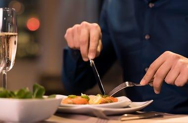 Man, Eating, Restaurant, Dining, Alone, Salad