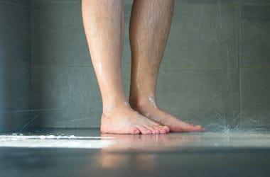 Man, Shower, Wet Legs