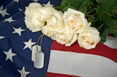 Soldier, Military, Coffin, Casket, American Flag, Dog Tags, White Rose Bouquet