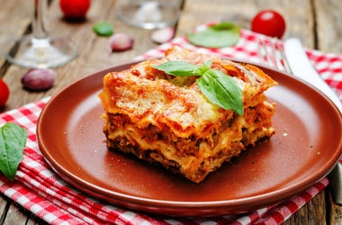 Lasagna, Pasta, Red Plate, Wooden Table
