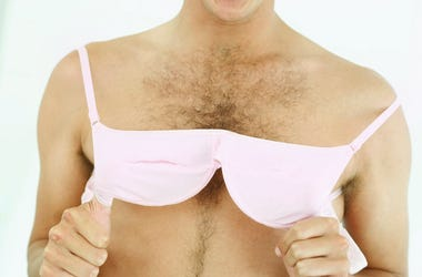 Man Wearing Bra, Hairy Chest, Pink Bra