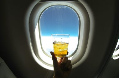 Alcohol, Cocktail, Airplane, Flight, Window