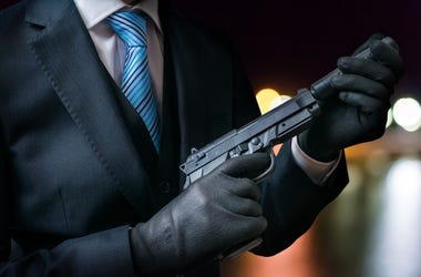 Killer, Gun, Hand, Gloves, Suit