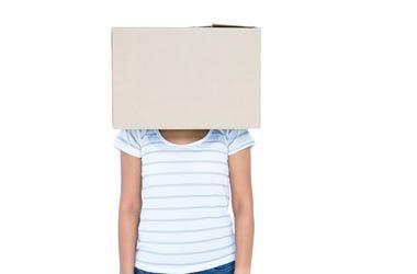 Cardboard Box, Human, Head, Woman
