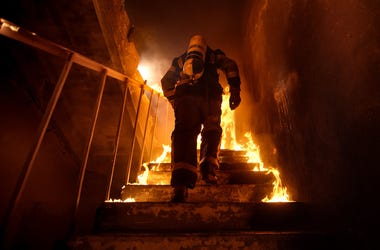 House, Fire, Stairs, Firefighter