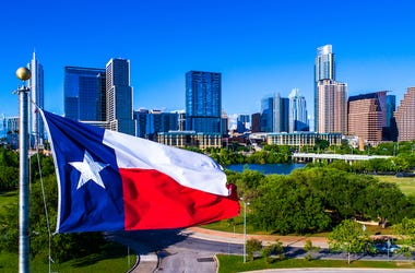 Texas, Flag, Austin, Downtown, Skyline, Blue Sky, Perfect Day