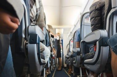 Cabin Aisle, Flight Attendant, Airplane Cabin, Passengers