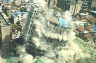 Implosion, Dust, City, Building, Downtown, China
