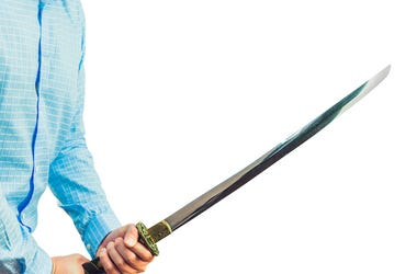 Man, Sword, Katana, White Background