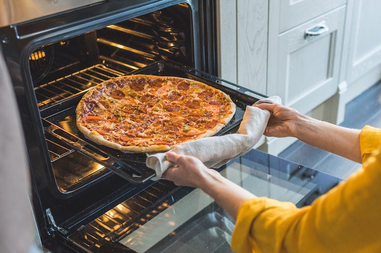 Woman, Cooking, Pizza, Oven