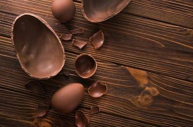 Chocolate Eggs, Wood Table, Dessert, Chocolate