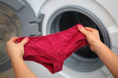 Red Underwear, Thong, Laundry Room