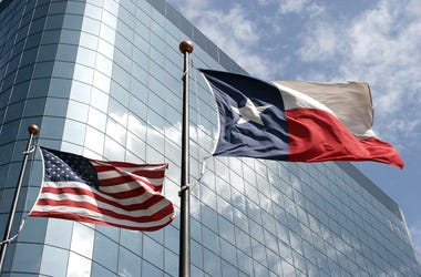 Texas Flag, Waving, Office Building, Skyscraper