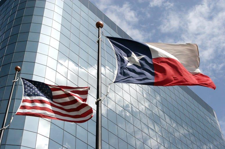 Texas Flag, Waving, Office Building, Skyscraper